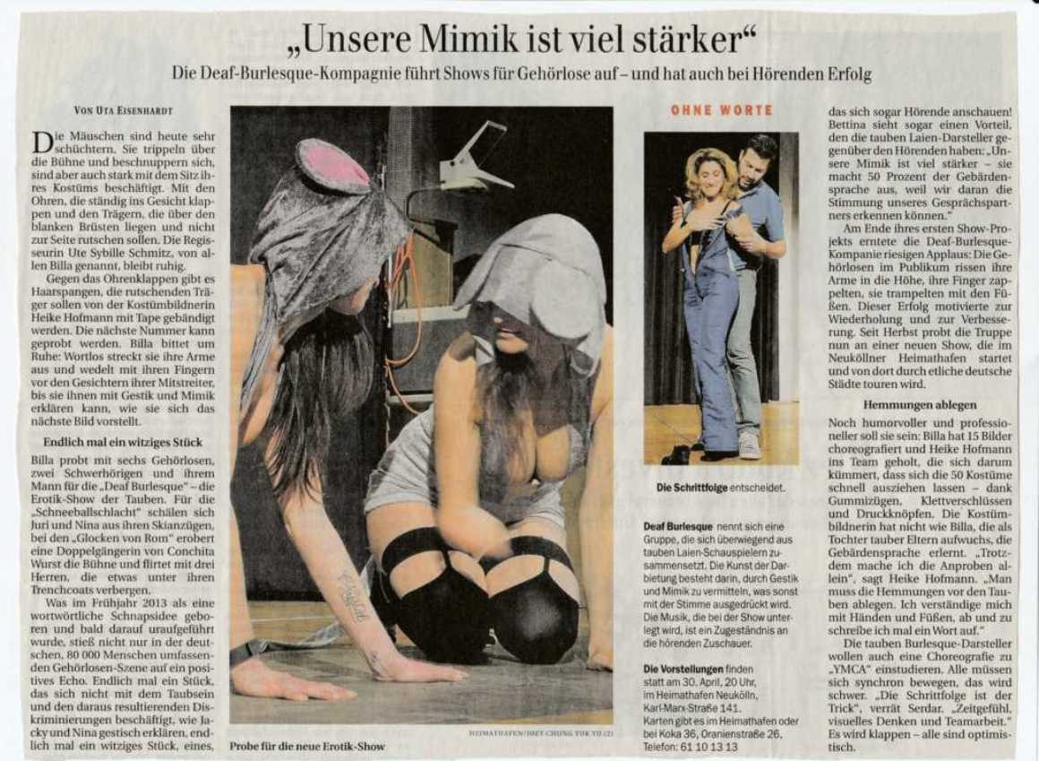 Berliner Zeitung Deaf Burlesque Show